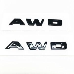 2pcs OEM GM Cadillac AWD Rear Trunk Lid AWD Emblem Badge Nameplate Glossy Black