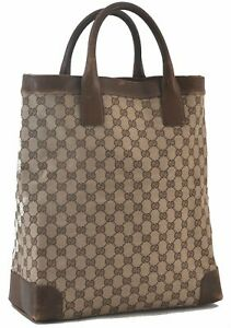 Authentic GUCCI Tote Bag GG Canvas Leather Brown C3538