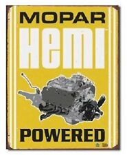 Mopar Hemi Powered Metal Tim Sign Car Engine Distressed Retro Vintage Dodge Cuda