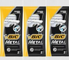 Bic Metal 15 Disposable Single Blade Razors 3 pack of 5 Pcs