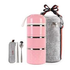 Cute Lunch Box Insulated Bag Bento Food Container School Camping 3 tier pink