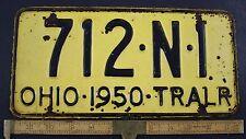 1950 Vintage Original OHIO License Plate 712-N-1  TRAILER