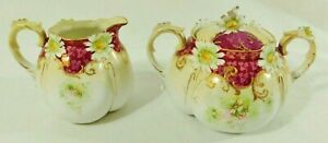 Exquisite Pair Antique Hand Painted Floral Gold Trim Creamer & Sugar Bowl Set