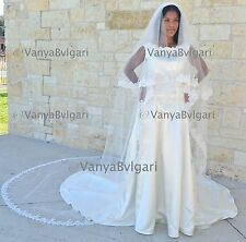 CATHEDRAL ALENCON LACE VEIL IN TWO TIER WITH BLUSHER, TWO LAYERS CATHEDRAL VEIL