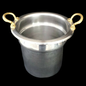 CHAMPAGNE BUCKET / VINTAGE HOTEL ICE BUCKET / SILVER with GOLD-TONE HANDLES