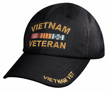 Vietnam Veteran Mesh Back Black Tactical Baseball Hat Embroidered Cap 8009
