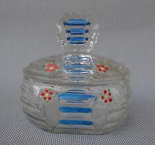 Antiguo azúcar de vidrio pintado con tapa vajilla french antiguo