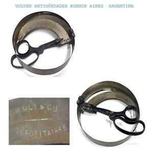 Rare antique tool brass iron hat circunferance measuring MOLT & Cie. Dépositaire