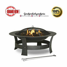 Wood-Burning Fire Pit 35-in Round Bowl Black Steel Spark Screen w/Cover New