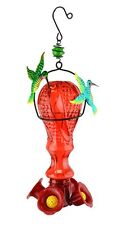 Glass Hummingbird Feeder with Metal Hummingbird Accents by Red Carpet Studios