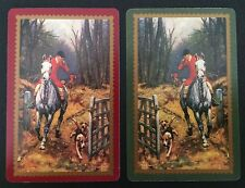 Pair of Vintage Swap/Playing Cards - HUNTING HORSES & DOGS - Mint Cond
