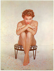 Fine Original 1950s Pin Up Embossed Litho Photograph Beauty Let's Have A Party