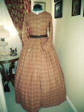 Civil War Reenactment Day Dress Size 14 Salmon Plaid Cotton Flannel