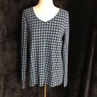 Talbots Womens Blue V-Neck Long Sleeve Top - Size M