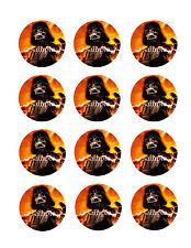 DARTH Vader Edible CUPCAKE Toppers Icing Image Circles 12 Star Wars
