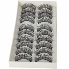 H1 10 Pairs Black Long Thick Soft Reusable False Eyelashes Fake Eye Lash for Mak