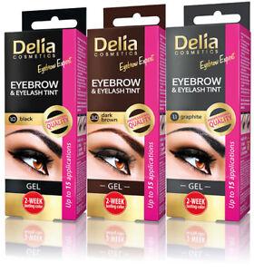 DELIA Eyelash & Eyebrow Tint Gel Full kit 3 SHADES TWO WEEKS LASTING COLOR
