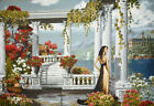 Gobelin Tapestry Textile Picture Panels Lady White Pergola without Frame 50x70