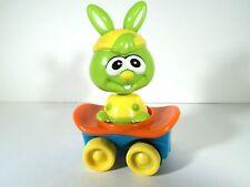 Rare=Vtg=2008=Hilco=Neon- Green-Bobble Head Bunny On Skateboard-Friction Action T