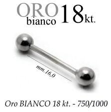 Piercing 16mm CORPO CAPEZZOLO LINGUA TRAGO ORECCHIO oro BIANCO 18kt. white GOLD