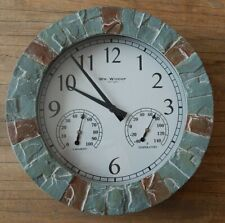STONE EFFECT OUTDOOR WALL CLOCK WITH THERMOMETER & HYGROMETER WEATHER STATION