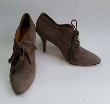 Bettye Muller Shoes Heels Taupe Lace Tassel Suede Roxy Italy Size 9.5 / 39.5
