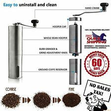 Manual Coffee Hand Grinder Adjustable Ceramic Burr Stainless Steel Mill Crank