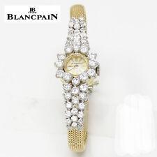 NYJEWEL Blancpain 18K Yellow Gold 4ct Diamond Ladies Bracelet Watch