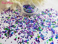 Nail Art Chunky *Bermuda* Purple Blue Green Hexagon Glitter Spangles Mix Tip Pot