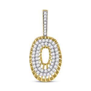 10kt Gelbgold Herren Rund Diamant Buchstabe 17 1/4 Charm Anhänger 1.00 Cttw