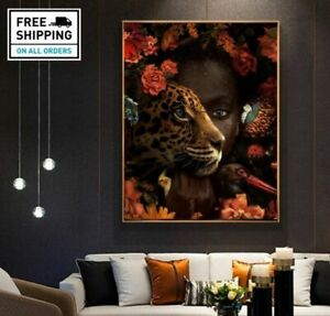 African Canvas Wall Art Black Woman Tiger Rose Bird Oil Painting Cuadros Posters
