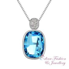 18K White Gold GP Made With Swarovski Classical Baguette Fancy Stone Necklace