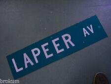 """Vintage ORIGINAL LAPEER AV STREET SIGN 36"""" X 9"""" WHITE LETTERING ON GREEN"""