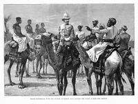CAMELS, KHARTOUM RELIEF EXPEDITION, MAJOR KITCHENER, WITH HIS GUIDES AT KORTI