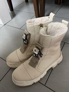 Boots 39 Creme Combat Strass Profilsohle Leder Echtleder Noclaim