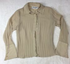 Newport News Womens Top 8 Beige Button Down Blouse Pleated Jeanology Career B38