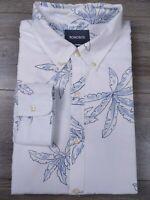 Bonobos Slim Fit Floral Print White Button Front Long Sleeve Shirt Men's XL