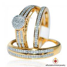 Yellow Gold Finish Diamond Trio Bridal Ring Wedding Engagement Ladies & Men Set