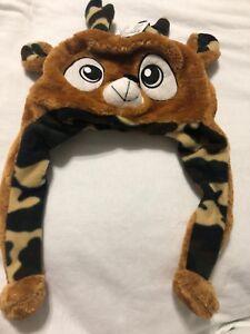 Animal Hats Super Soft & Warm Deer Buck Antlers CAMO Flaps Unisex Brown Big Eyes