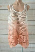 Crossroads Tank Top Size 18 White Pink Crochet Ombre Sleeveless
