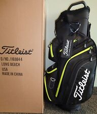 NEW 2017 Titleist DELUXE LIGHTWEIGHT CART GOLF BAG, BLACK/LIME, TB6CT6-03,14-WAY