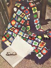 """VINTAGE Crochet Pattern afgani/Coperta/tappeto. Multi-colore granny square. 38"""" SQ."""