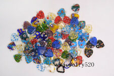 Flower Glass Heart Shape Beads Pendants Free Wholesale Lots 20X Mixed Millefiori