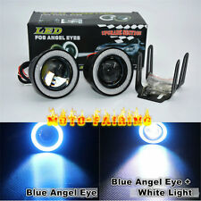 "Pair 3.0"" LED Fog Lights Projector With COB Blue Angel Eye Halo Rings High Power"