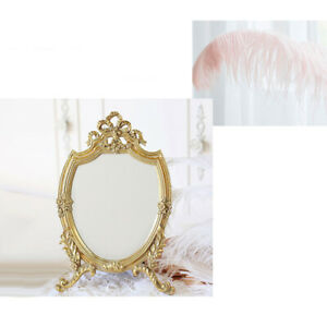 Antique Style Embossed Makeup Mirror Oval Shaped Dresser Mirrors Home Decor
