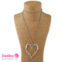 Large abstract metal heart pendant long curb chain necklace silver lagenlook