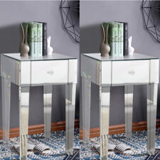 2x Stylish Bedroom Mirrored End Table Nightstand With One Drawer Cabinets 4 Legs
