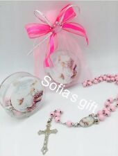 24 Girls Pink Rosaries Baptism Favors Recuerdos De Bautizo--(BAG NOT INCLUDED)