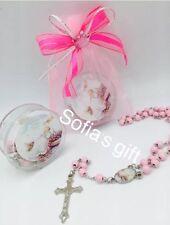 12 Girls  Pink Rosaries Baptism Favors Recuerdos De Bautizo BAGS Not Included