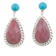 Jay King Angel Peak Turquoise and Rhondonite Sterling Silver Drop Earring 579513